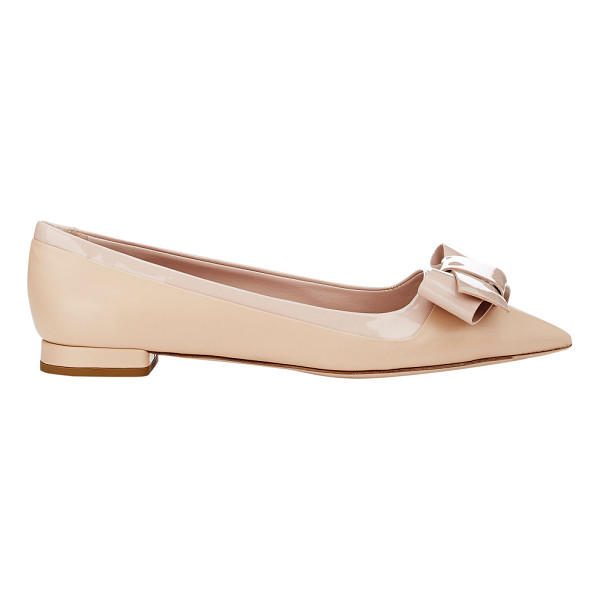 MIU MIU Leather & patent bow flats-nude - Miu Miu beige kidskin and patent leather pointed-toe flats...