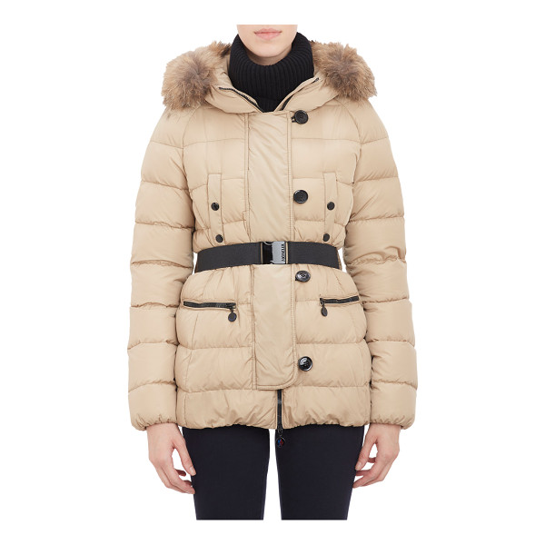 "MONCLER Fur-trimmed hood ""gene"" puffer jacket-nude - Moncler taupe quilted microfiber belted ""Gene"" puffer..."