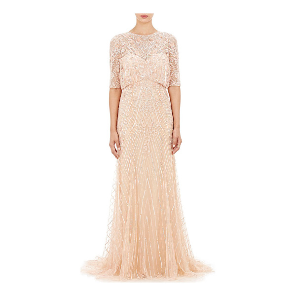 MONIQUE LHUILLIER BRIDESMAIDS Sequined gown-pink - Exclusively Ours! Embellished with sequins, beads and lace...
