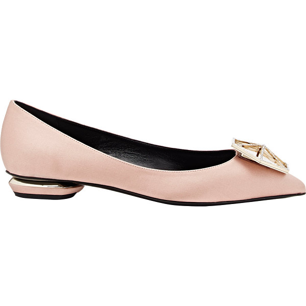 NICHOLAS KIRKWOOD Ornament-detail eden flats-colorless - Nicholas Kirkwood rose blush satin Eden flats styled at...
