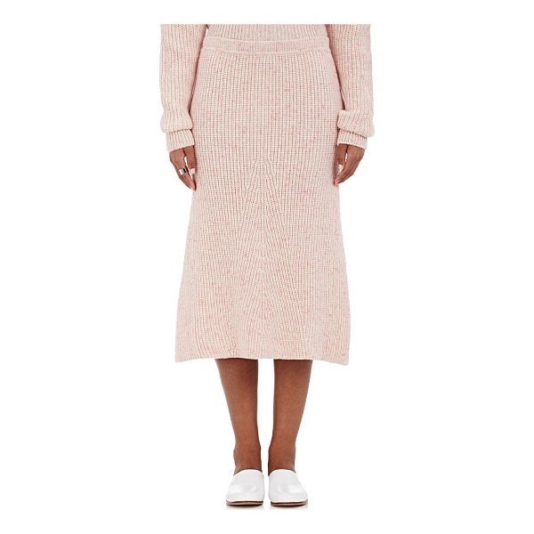 ORLEY Cashmere english rib-knit mid-length skirt-pink -