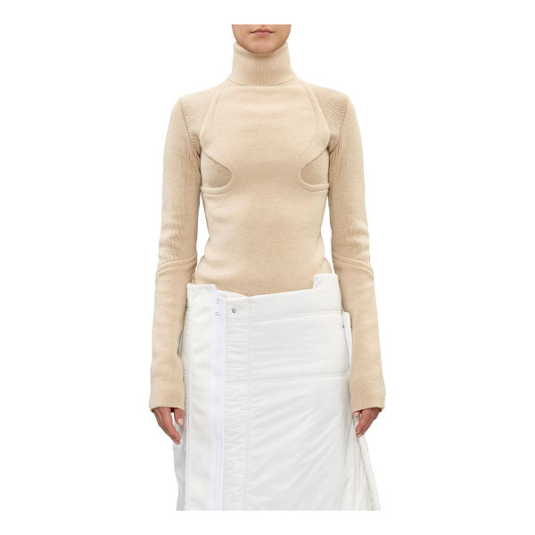 """PACO RABANNE """"tailoring"""" turtleneck sweater-tan - Exclusively Ours! Paco Rabanne Camel rib-knit stretch-wool..."""