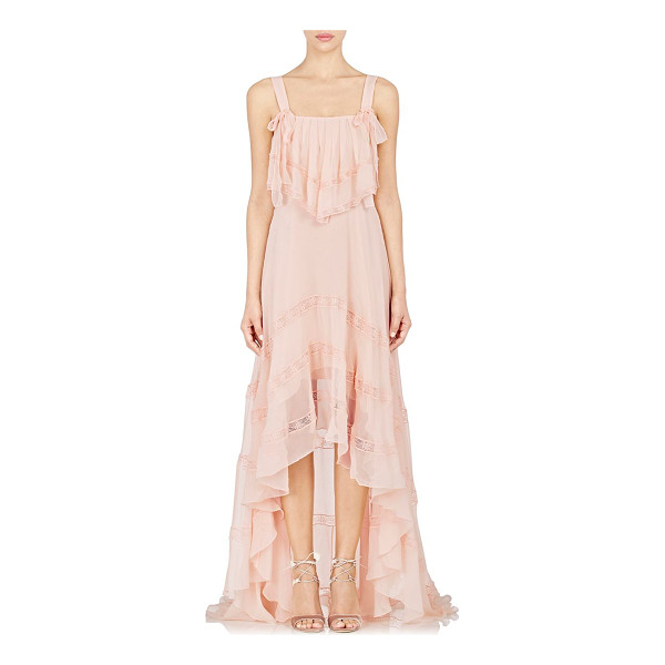 PHILOSOPHY DI LORENZO SERAFINI Chiffon high-low maxi dress-pink - Crafted of peach semi-sheer silk chiffon, Philosophy di...