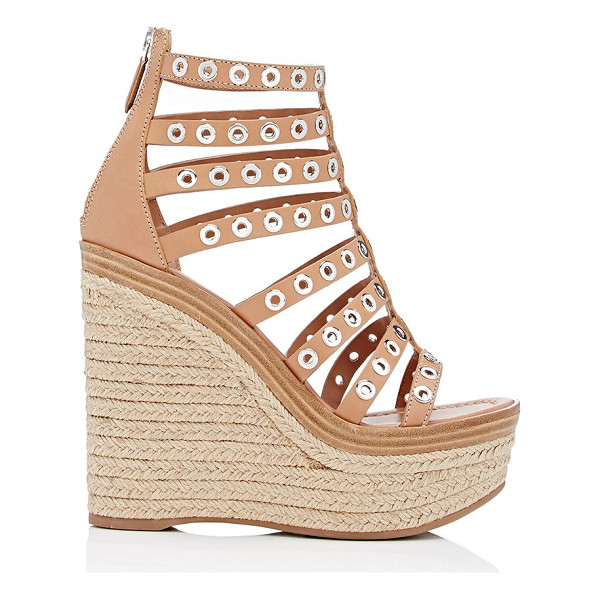 PRADA Gladiator platform wedge sandals-nude - Prada tan smooth leather gladiator platform wedge sandals...