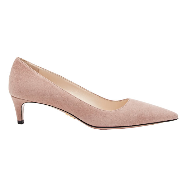 PRADA Suede kitten-heel pumps-colorless - Prada Dark Rose suede pointed-toe pumps styled with a slim...