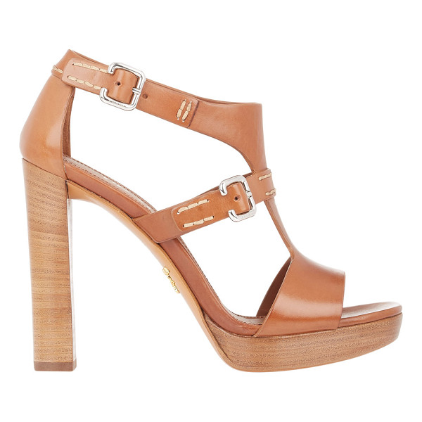PRADA T-strap platform sandals-brown - Prada Brandy smooth calfskin T-strap sandals styled with...
