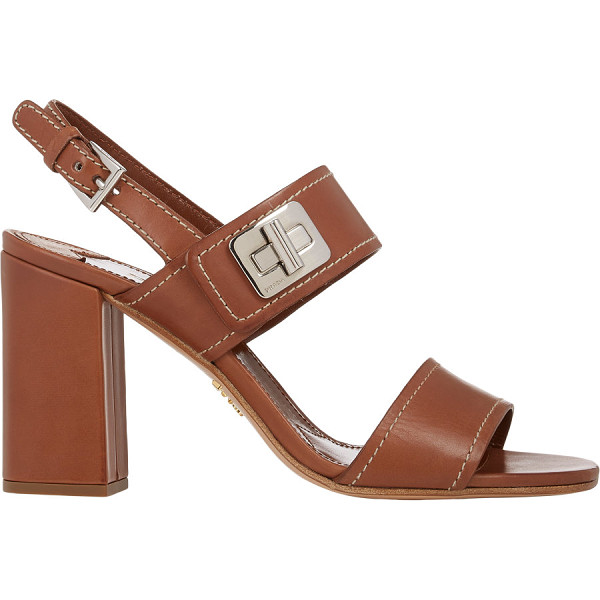 PRADA Turn-lock double-band sandals - Prada Brandy smooth calfskin double-band sandals detailed...