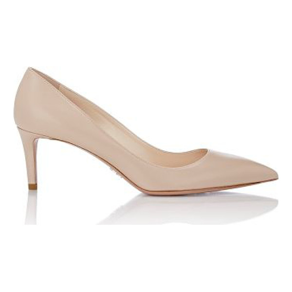 PRADA Leather pointed-toe pumps-nude - Prada beige smooth calfskin pumps styled with a pointed toe...