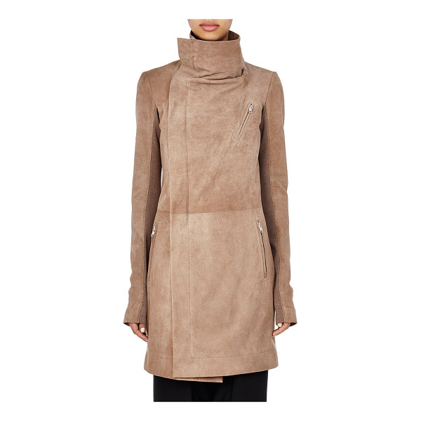 RICK OWENS Suede long moto coat-brown - Crafted of Fawn (grey-brown) suede, Rick Owens' long moto...