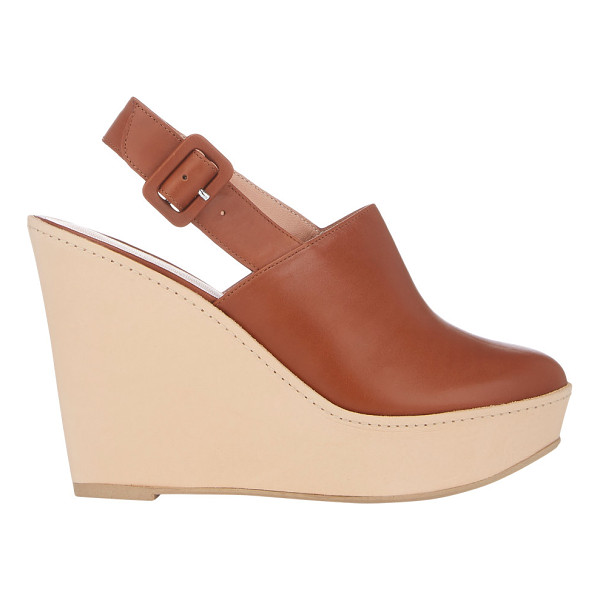 ROBERT CLERGERIE French slingback platform sandals-nude - Robert Clergerie tan smooth calfskin French slingback...