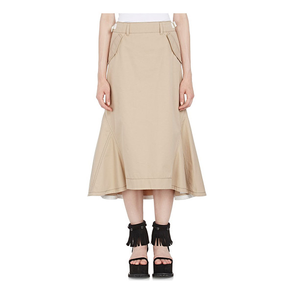 SACAI Twill godet skirt-nude - Sacai Luck's khaki twill skirt is fitted at waist and...