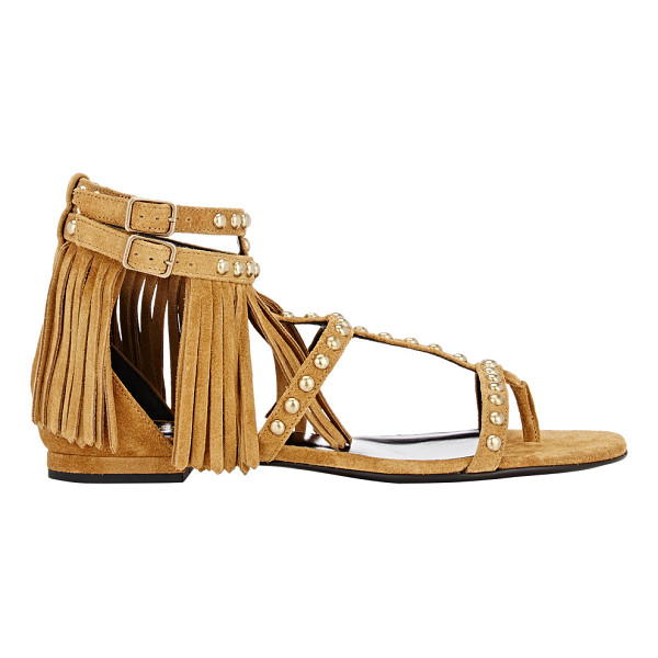 SAINT LAURENT Fringed t-strap sandals-nude - Saint Laurent tan suede T-strap sandals detailed with suede...