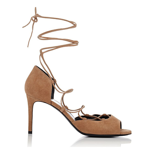 SAINT LAURENT Jane ankle-tie sandals-nude - Saint Laurent dark beige kidskin suede Jane peep-toe...