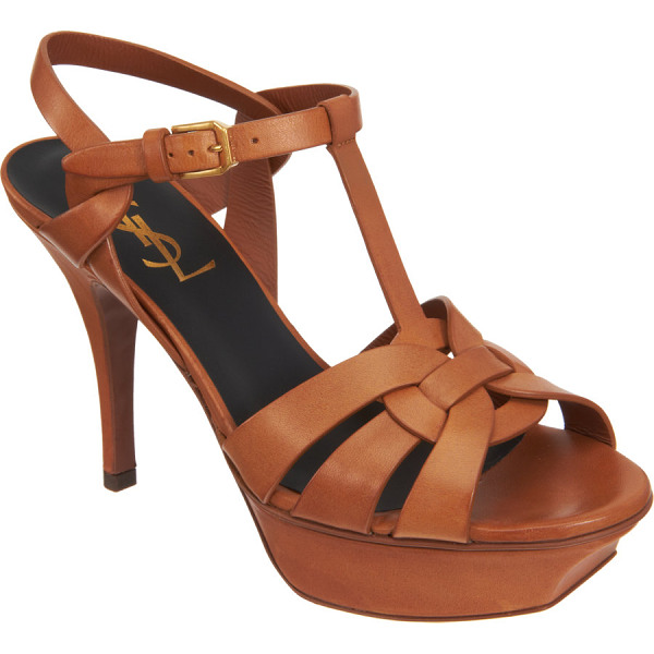 SAINT LAURENT Tribute platform sandals-nude - Smooth leather open toe t-strap sandal with woven vamp,...