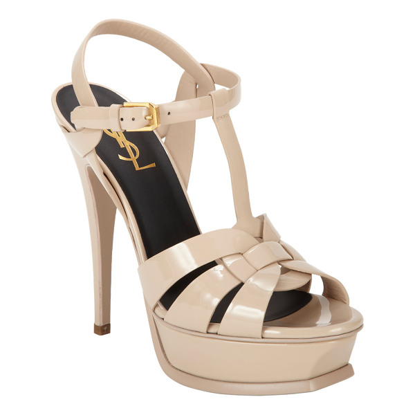 SAINT LAURENT Tribute platform sandals-beige, nude - Saint Laurent Powder beige patent leather Tribute T-strap...