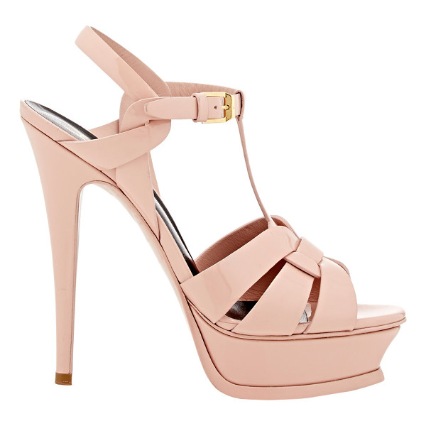SAINT LAURENT Tribute t-strap platform sandals-pink - Saint Laurent Rose Blush patent leather Tribute T-strap...