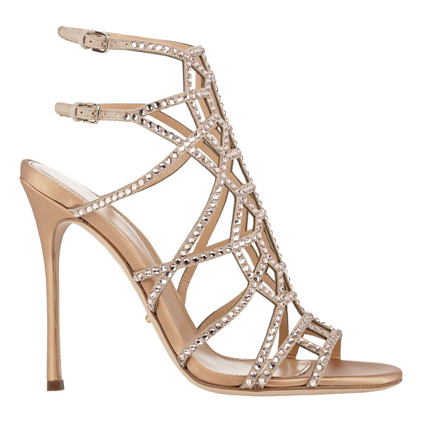 SERGIO ROSSI Embellished puzzle caged sandals-nude - Exclusively Ours! Sergio Rossi beige suede Puzzle sandals...