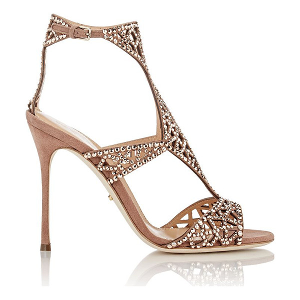 SERGIO ROSSI Embellished tresor t-strap sandals-nude - Crafted of Café (brown) geometric-cutout suede, Sergio...