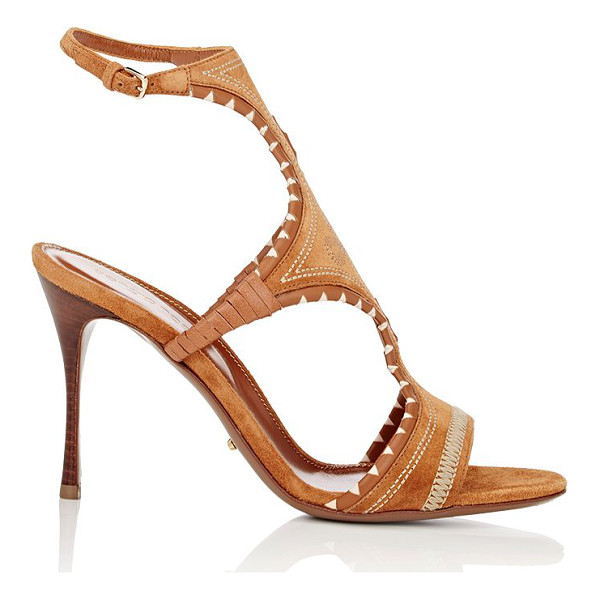 SERGIO ROSSI Maya ankle-strap sandals-beige - Crafted of Camel suede layered over leather, Sergio Rossi's...