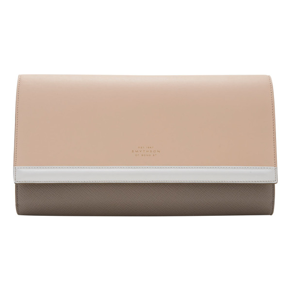 SMYTHSON Colorblock panama travel clutch-nude - Smythson Nude and Dove crossgrain-calfskin Panama travel...