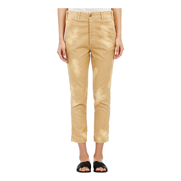 THE GREAT Slouch cropped trousers-gold - The Great. Washed Khaki slub-weave cotton-blend twill...
