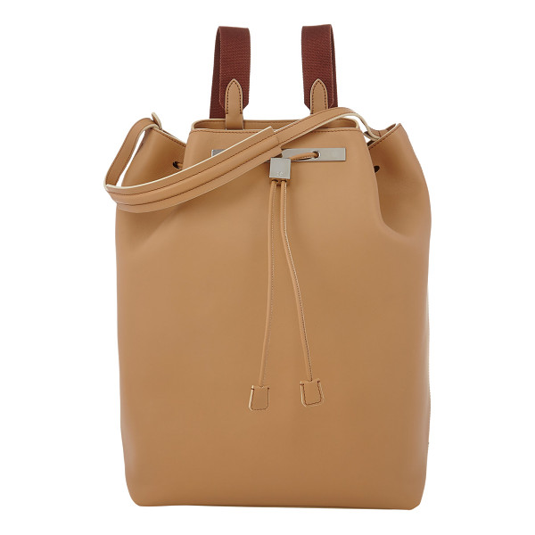 THE ROW Drawstring backpack-nude - The Row beige smooth leather backpack styled with a...