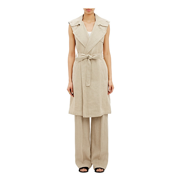THEORY Jiliya sleeveless coat-nude - Inspired by the classic trenchcoat, Theory's beige linen...