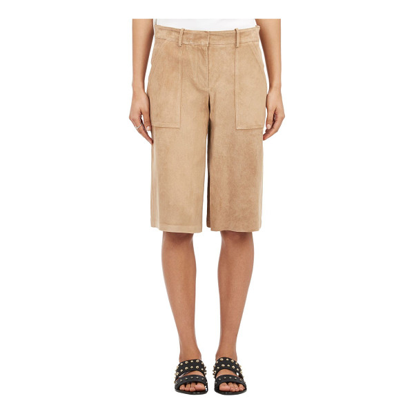 THEORY Suede culottes-nude - Theory tan suede leather culottes. Flat front, belt loops,...