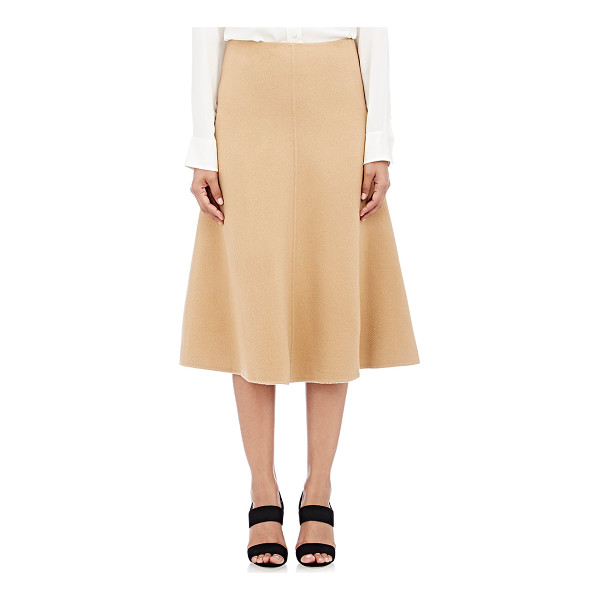 THEORY Uthema df skirt-colorless - Theory camel wool-cashmere brushed melton Uthema DF flared...