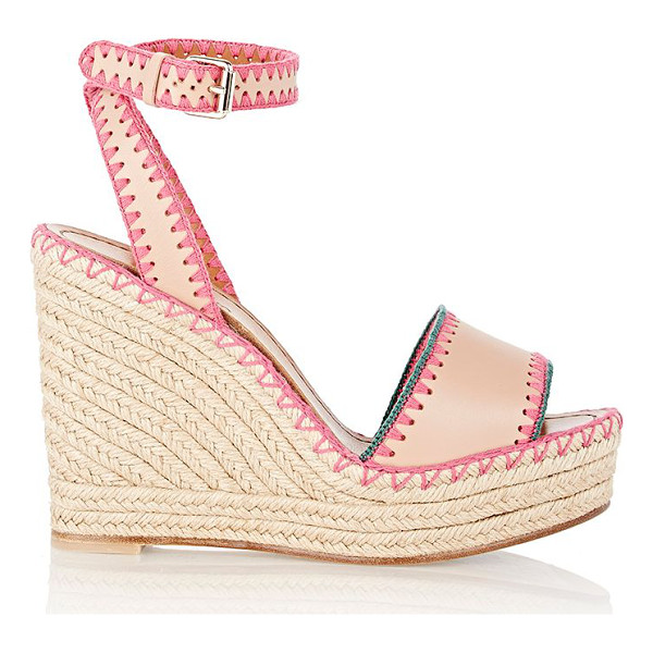 VALENTINO Embroidered wedge espadrilles-beige - Crafted of Skin Sorbet (blush) smooth leather, Valentino's...