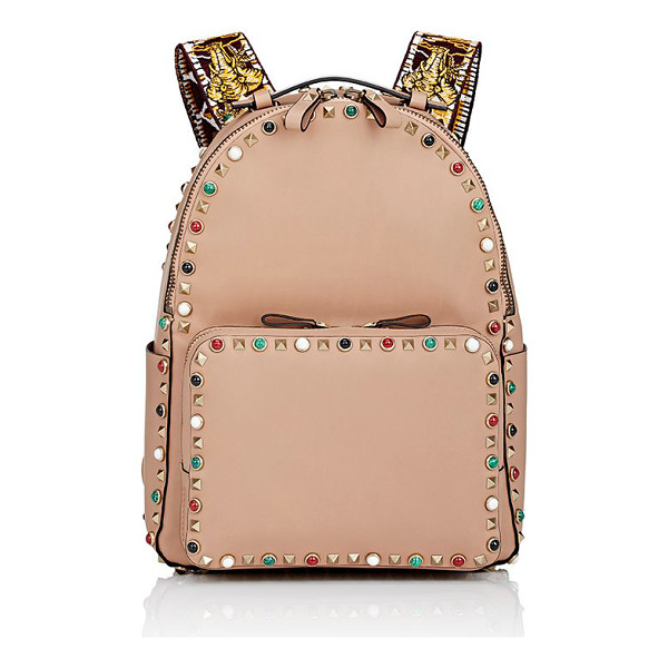 VALENTINO Valentino guitar rockstud medium backpack-tan - Crafted of Noisette (blush) smooth leather embellished with...