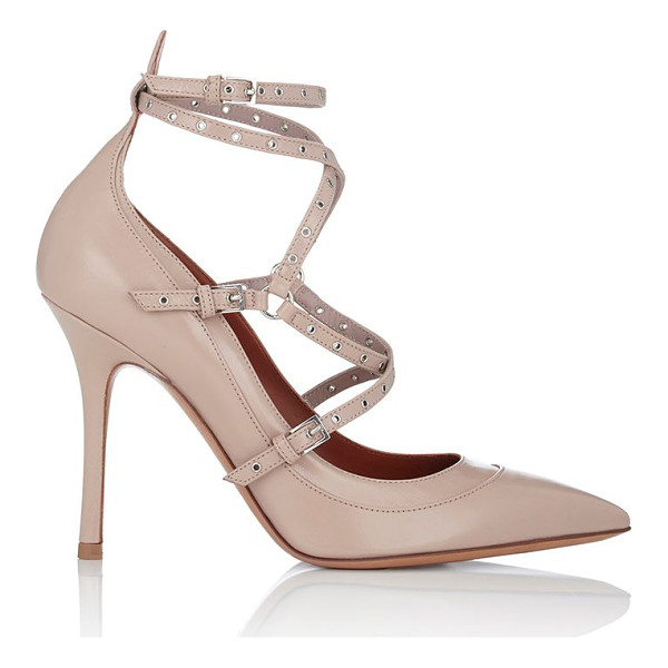 "VALENTINO ""love latch"" ankle-strap pumps-pink - Crafted of Poudre (beige) smooth leather, Valentino's ""Love..."