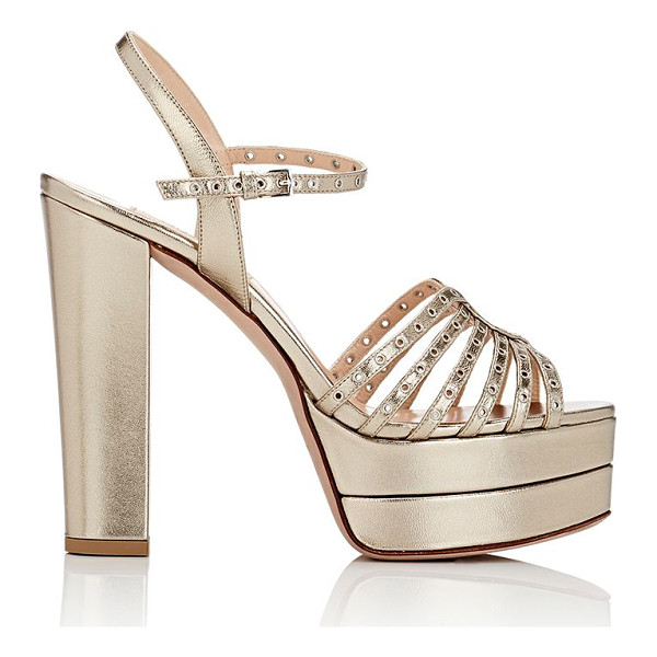 "VALENTINO ""love latch"" platform sandals-gold - Valentino gold metallic leather ""Love Latch"" platform..."