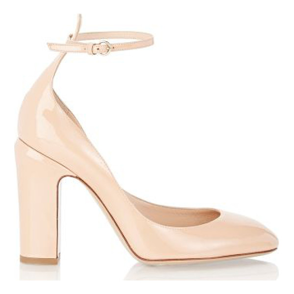 VALENTINO Valentino patent tango ankle-strap pumps-light grey - Crafted of Skin Sorbet (tan) patent leather, Valentino's...