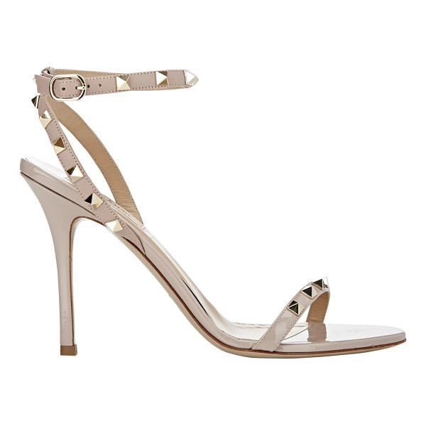 VALENTINO Valentino rockstud ankle-strap sandals-nude - Valentino Poudre (powder pink) patent leather and grained...