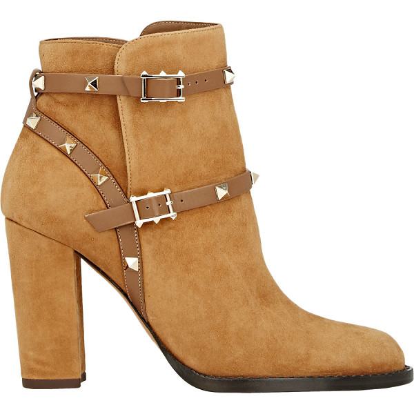 VALENTINO Rockstud double-strap boots-nude - Crafted of tan suede, Valentino's Rockstud ankle boots are...