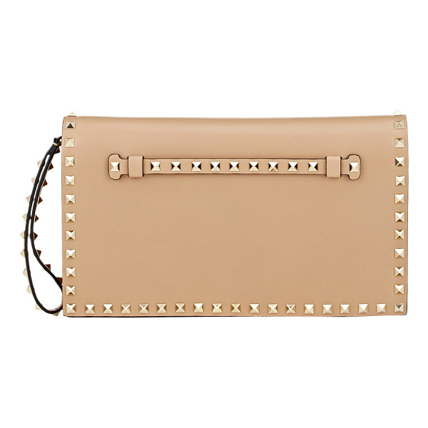 VALENTINO Rockstud flap clutch-nude - Valentino Alpaca (taupe) smooth leather Rockstud flap...