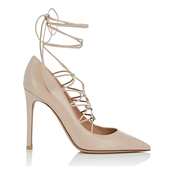 VALENTINO Rockstud lace-up pumps-cream, pink - Crafted of beige smooth leather, Valentino's Rockstud...