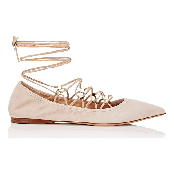 VALENTINO Rockstud lace-up skimmers-pink - Crafted of taupe suede, Valentino's Rockstud lace-up...