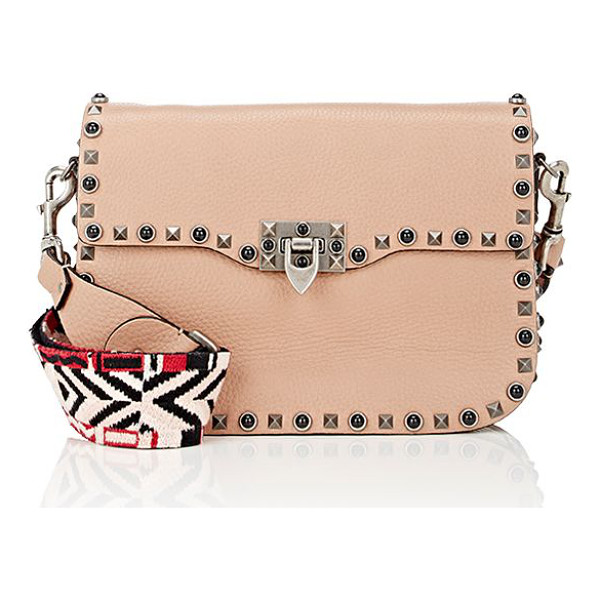 VALENTINO Rockstud rolling shoulder bag-beige, tan - Designed with a geometric-pattern embroidered strap,...