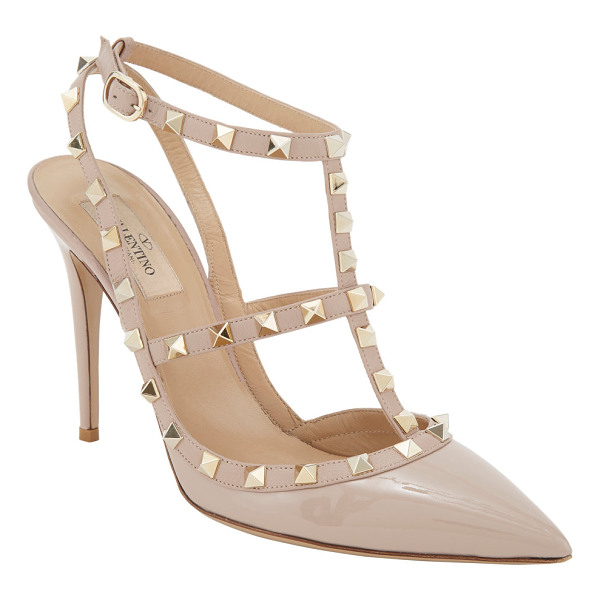 VALENTINO Rockstud slingback pumps-nude - Valentino Powder (blush) patent leather and leather...