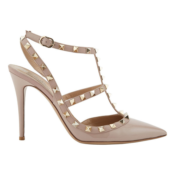 VALENTINO Rockstud caged pumps-white - Valentino Powder (blush) patent leather and leather...