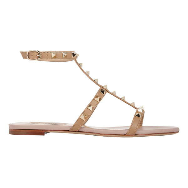 VALENTINO Rockstud t-strap sandals-nude - Valentino taupe leather T-strap sandals embellished with...