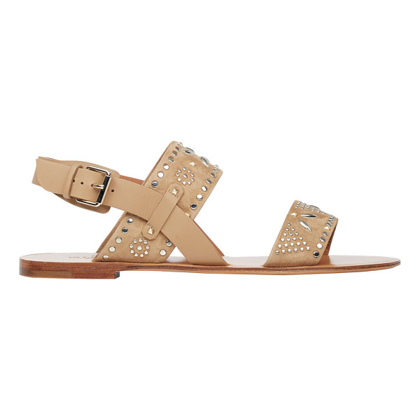 VALENTINO Studded double-band sandals-nude - Valentino soft beige suede double-band sandals embellished...