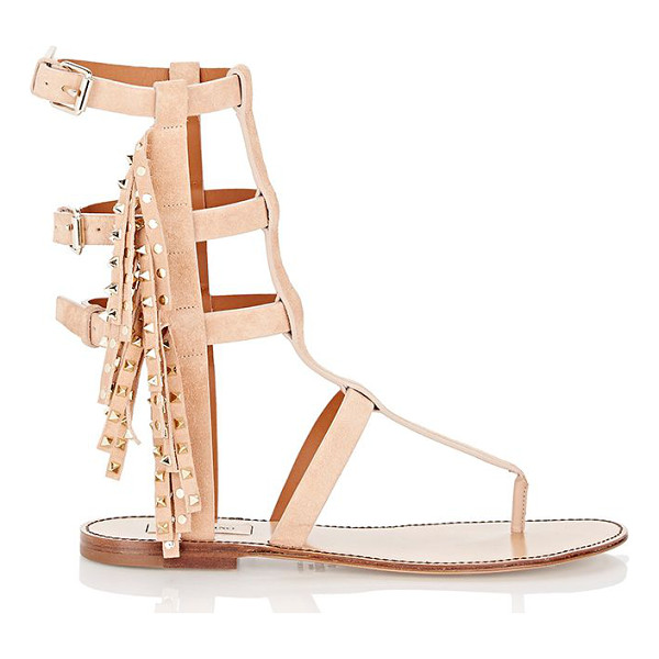 VALENTINO Fringed rockstud gladiator sandals-colorless - Crafted of Sorbet (blush) suede, Valentino's Rockstud flat...