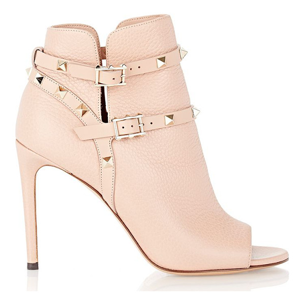 VALENTINO Valentino rockstud ankle booties-light grey - Crafted of Skin Sorbet (blush) grained leather, Valentino's...