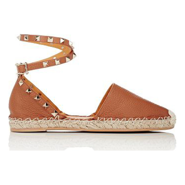 VALENTINO Rockstud ankle-strap espadrilles-colorless - Valentino cognac grained leather Rockstud espadrilles...