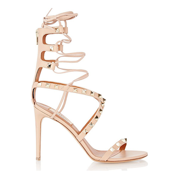 VALENTINO Rockstud lace-up sandals-colorless - Valentino Skin Sorbet (tan) leather Rockstud lace-up...