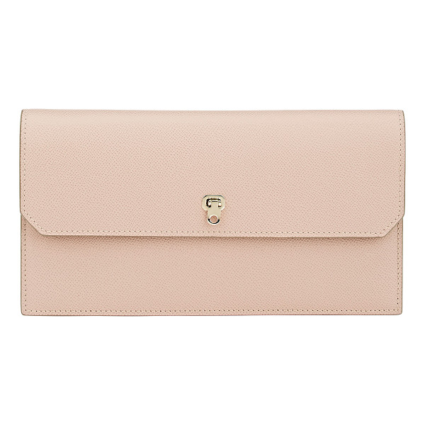 VALEXTRA City clutch-pink - Valextra blush grained leather City clutch. Signature black...