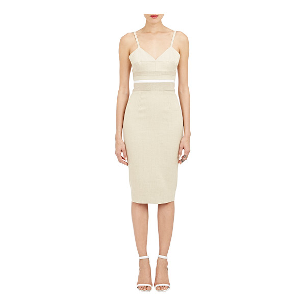 VICTORIA BECKHAM Leather-seam basket-weave dress-nude - Exclusively Ours! Victoria Beckham beige jute-silk...